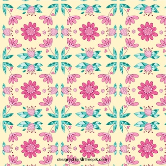 Hand drawn vintage floral pattern