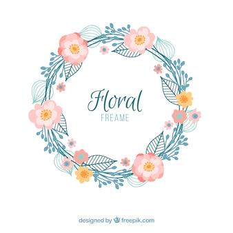 Hand drawn vintage floral wreath