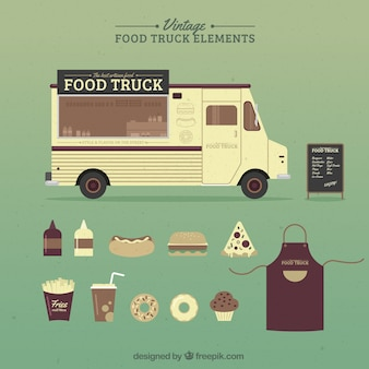 Hand drawn vintage food truck and accessories