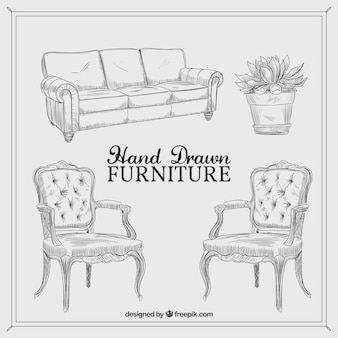 Hand drawn vintage furniture