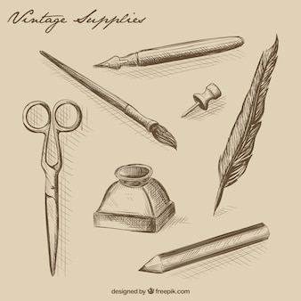 Hand drawn vintage office supplies