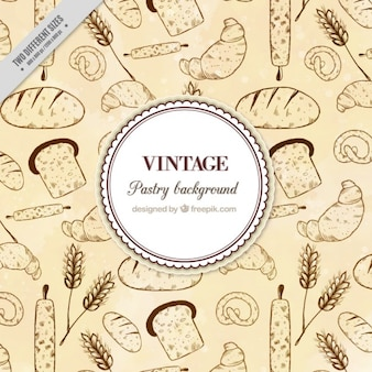 Hand drawn vintage pastry background
