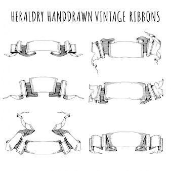 Hand drawn vintage ribbons collection