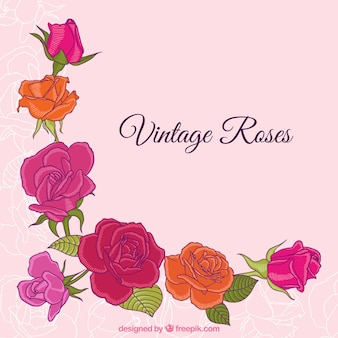Hand drawn vintage roses background