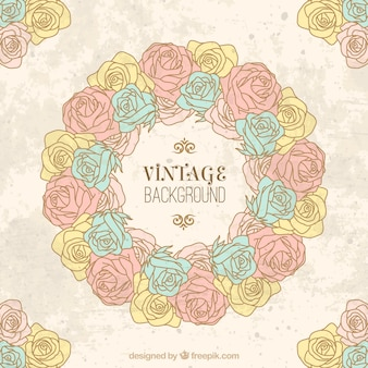 Hand drawn vintage roses wreath background