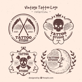 Hand drawn vintage tattoo logo set