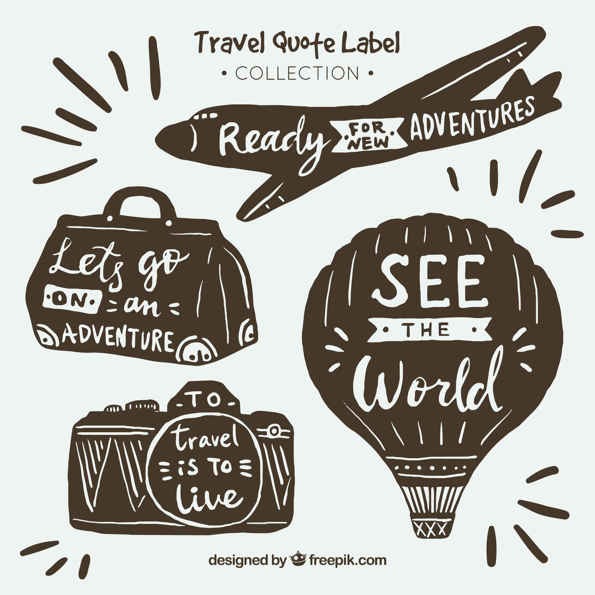 Hand drawn vintage travel quote labels collection