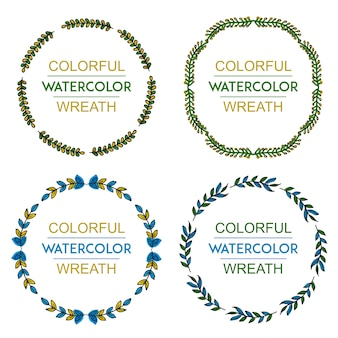 Hand Drawn Water Color Floral Leaves Wreath Collection