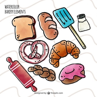 Hand drawn watercolor bakery elements