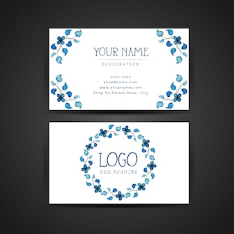 Hand Drawn Watercolor Blue Floral Business Card Design