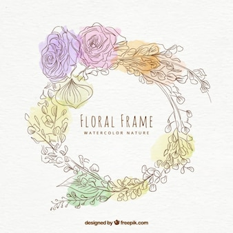 Hand drawn watercolor decorative floral frame