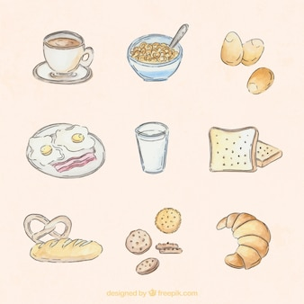 Hand drawn watercolor delicious breakfast