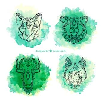 手描きの水彩画の民族動物パック