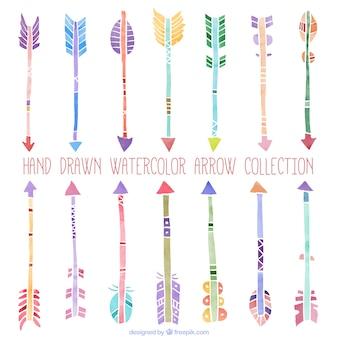 Hand drawn watercolor ethnic arrows