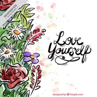 Hand drawn watercolor floral background with an inspirational message