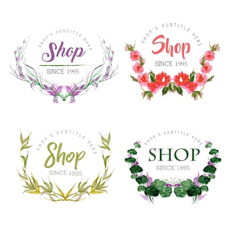 Hand Drawn Watercolor Floral Design Logos Collection