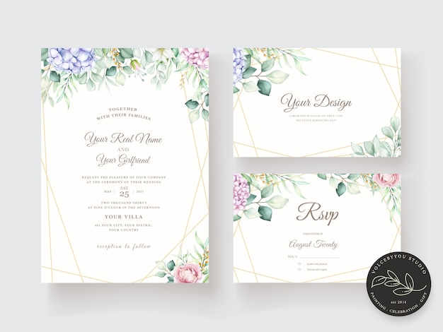 Hand drawn watercolor floral invitation card template