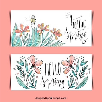 Hand drawn watercolor flower banners