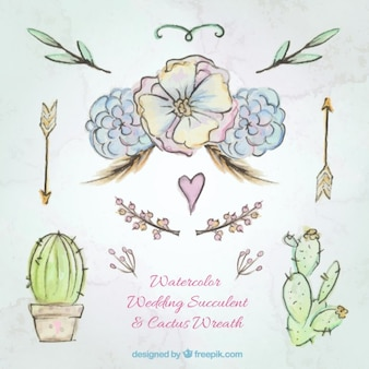 Hand drawn watercolor flowers and cactus