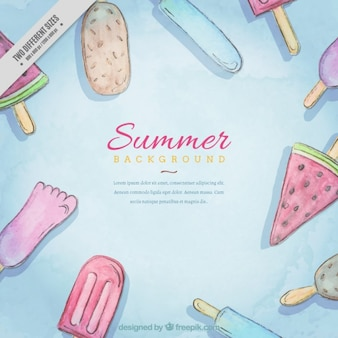Hand drawn watercolor ice-creams background
