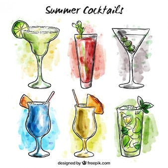 Hand drawn watercolor kind of summer drinks