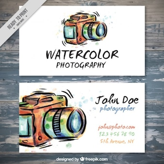 Hand drawn watercolor photography card