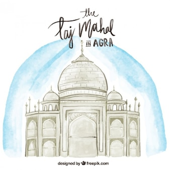 Hand drawn watercolor taj mahal