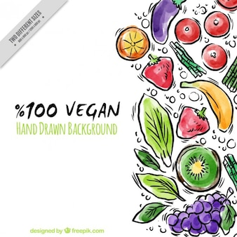 Hand drawn watercolor vegan food background