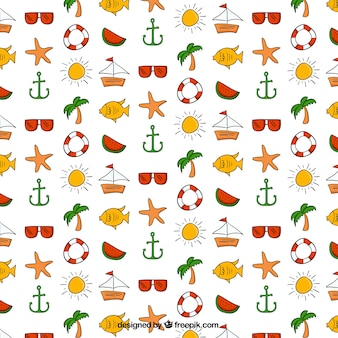 Hand drawn watermelon and summer elements pattern