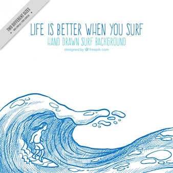 Hand drawn wave background in blue color