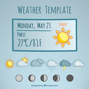 Hand drawn weather prognosis template