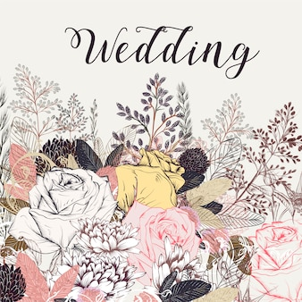 Hand drawn wedding background