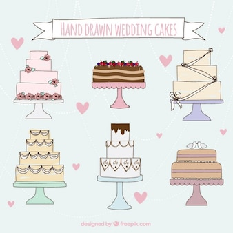 Hand drawn wedding cakes