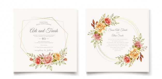 Hand drawn wedding card template