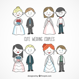 Hand-drawn wedding couples collection