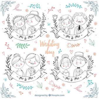 Hand-drawn wedding couples with color details