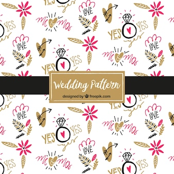 Hand drawn wedding elements pattern