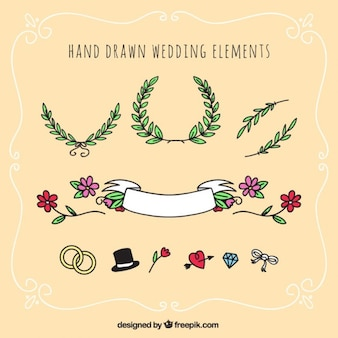hand drawn wedding elements