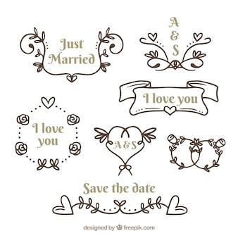Рисованные свадебные элементы