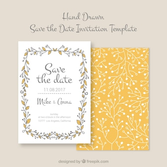 Hand drawn wedding invitation with floral frame