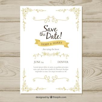 Hand drawn wedding invitation with retro style