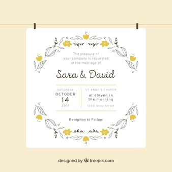 Hand-drawn wedding invitation with yellow flowers