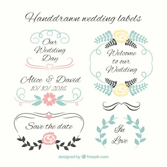 Hand drawn wedding labels set