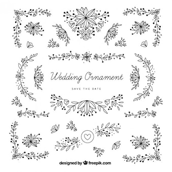 Hand drawn wedding ornaments with leaves