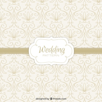 Hand drawn wedding pattern with floral details