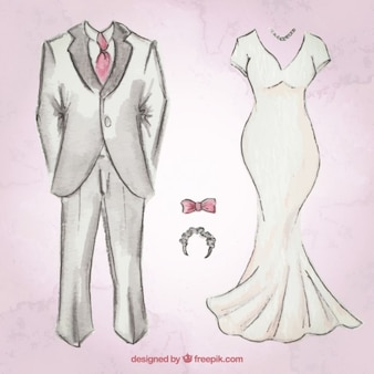 Hand drawn wedding suit and dress