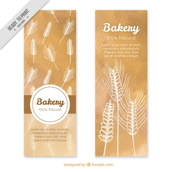 Hand drawn wheat banners