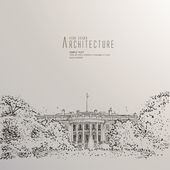 Hand drawn white house