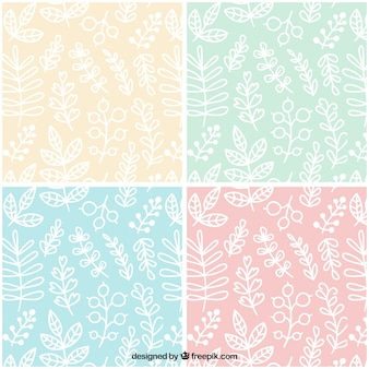 Hand drawn white leaves pattern collection
