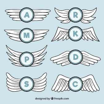 Hand drawn wings with initials